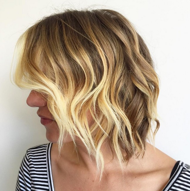 layered balayage choppy bob hairstyle