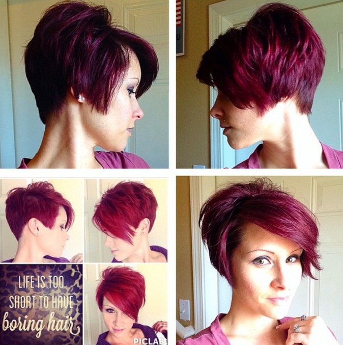 long pixie cut - redhead -red hair color