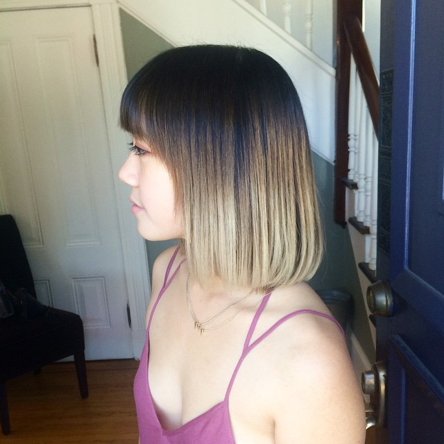medium length ombre bob hairstyle with blunt bangs