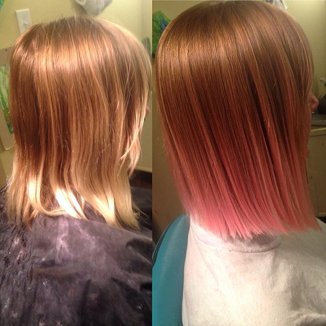medium straight brunette to pink ombre hair