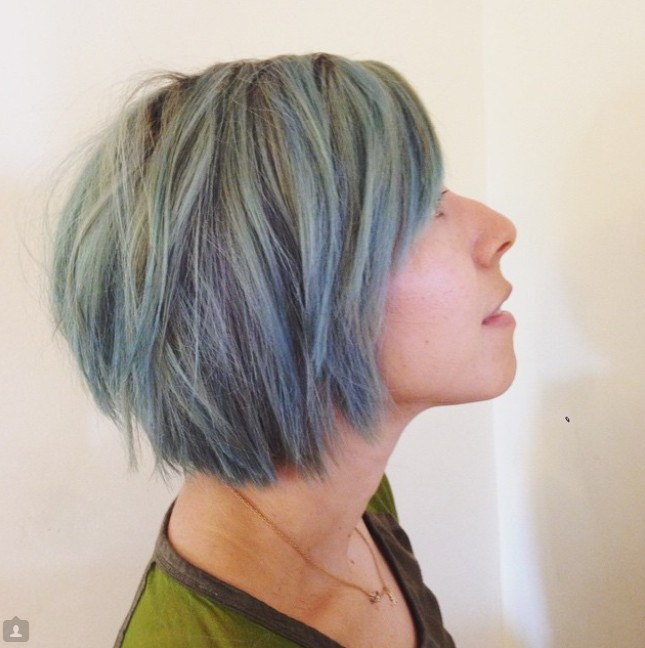 modern short tousled choppy bob haircut hair color