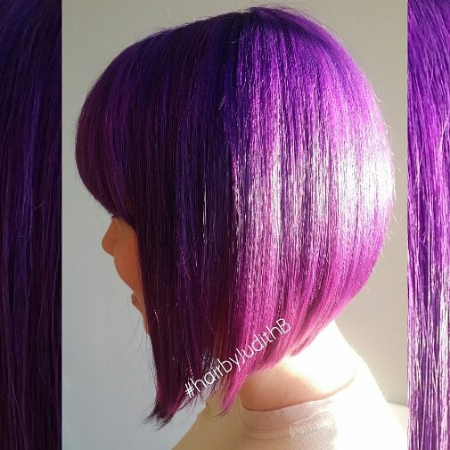 purple a-line bob hairstyle with bangs - side view