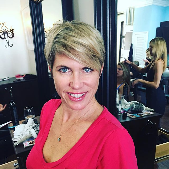 short blonde pixie cut with bangs for women over 40