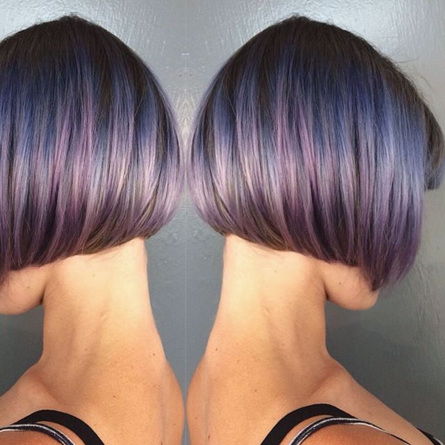 short blunt bob hair ideas - the purple highlighted bob cut