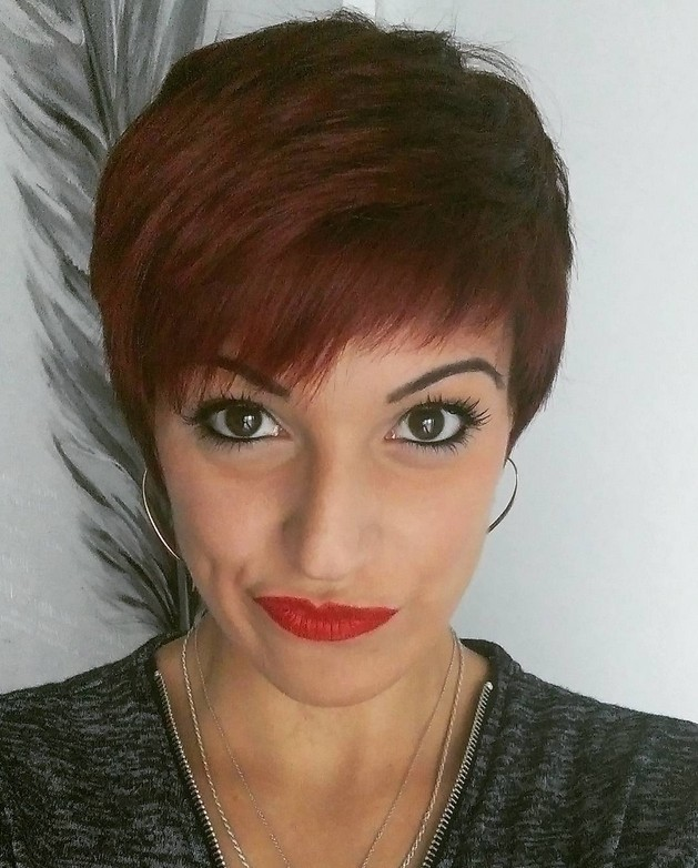 short dark copper pixie cut for women over 40
