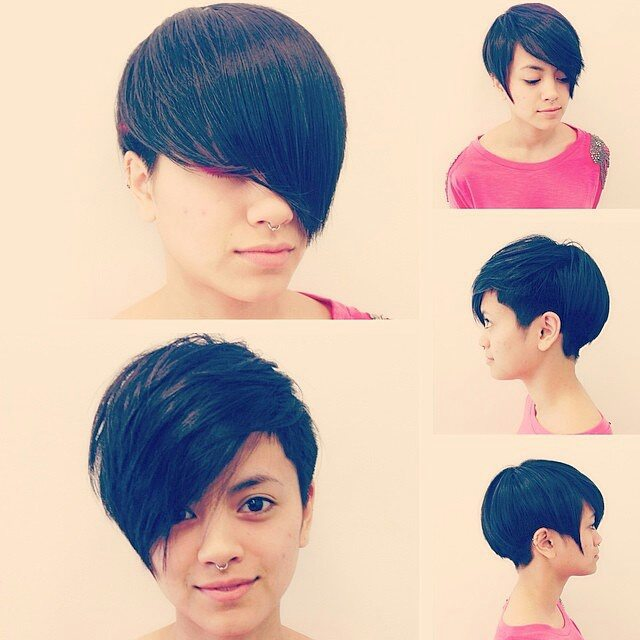 short pixie cut with long side swept bangs