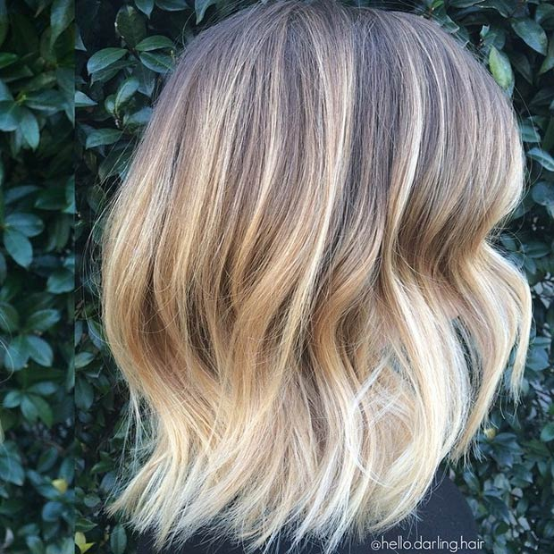wavy ombre bob hairstyle for thick hair