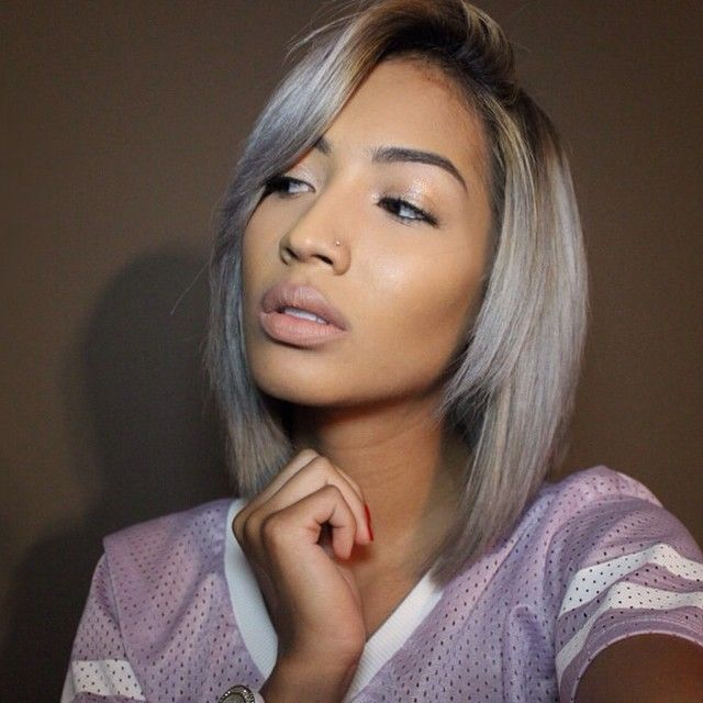 Ombre Silver Grey Short Straight Bob Cut For Thin Hair Popular