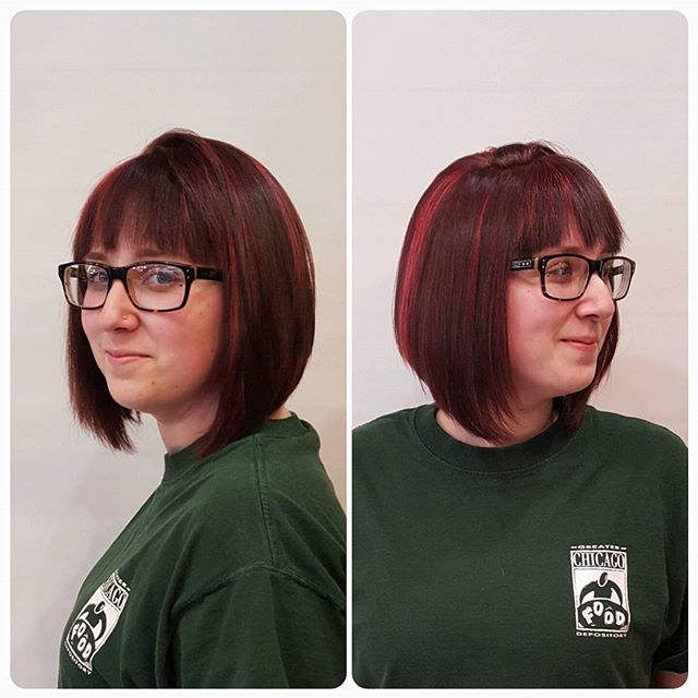 Red Highlighted short Stacked Bob Hairstyle with glasses