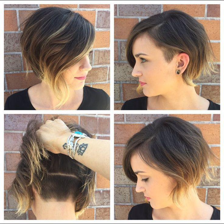 Short wavy asymmetrical ombre bob hairstyle for women