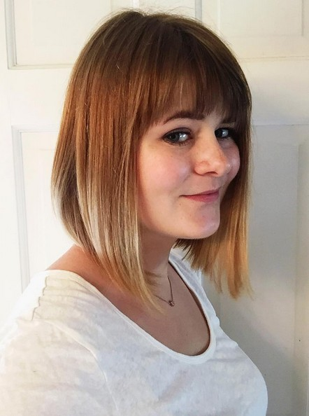 inverted A-line ombre bob hairstyle with blunt bangs