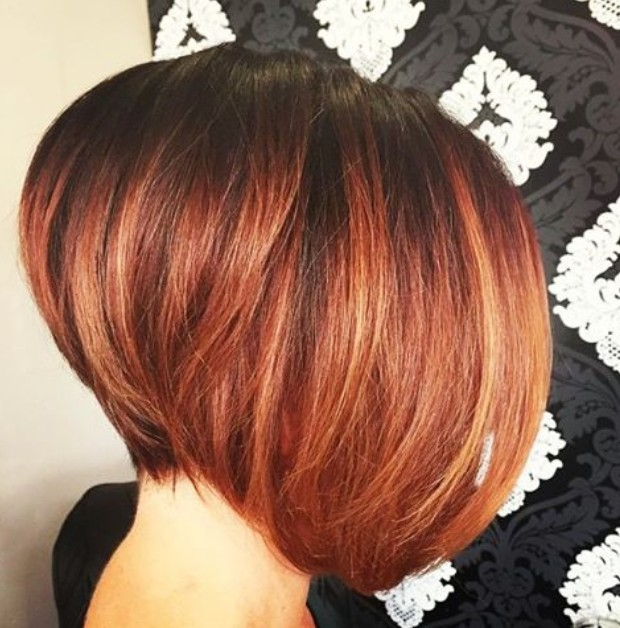 short dark to red ombre graduated bob hairstyle