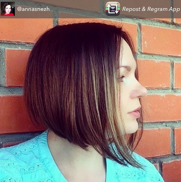 short graduated bob haircut with streaks