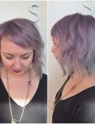 short soft wavy purple bob hairstyle with side swept bangs for round face shapes