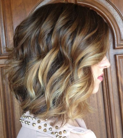 wavy curly bob hairstyle for thick hair