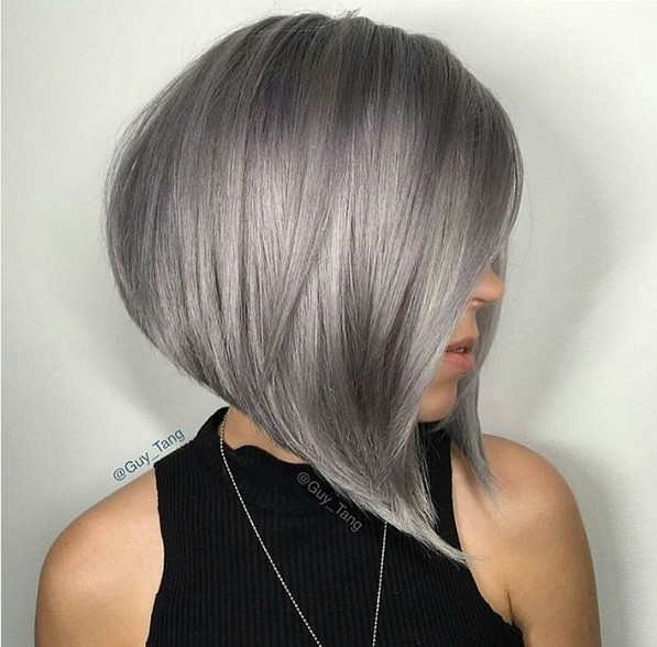 Angled A Line Bob With Grey Hair Color