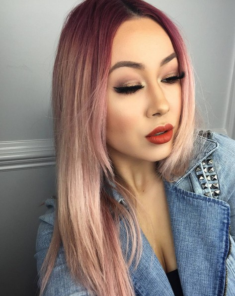 Asymmetrical, Medium Straight Hairstyles with Blush - Pink Tone Color