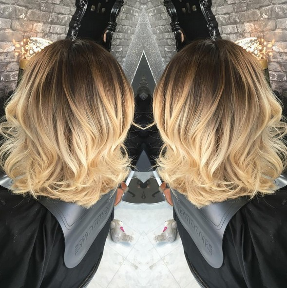 A Line Bob With Blonde Balayage Lowlights