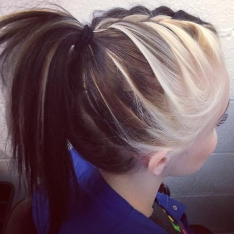 Braided ponytail with two-toned hair