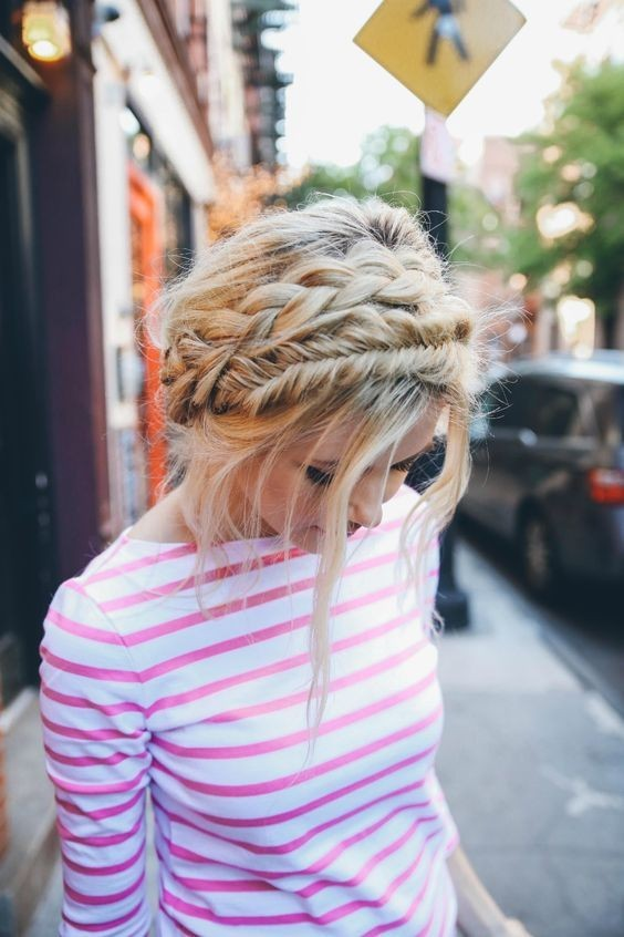 Cute, Messy Milkmaid Braid Hair Styles - Summer Hairstyles for Summer