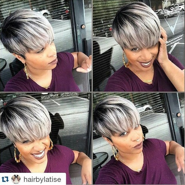 Cute Short Haircut - Balayage Hairstyles for Grey Color