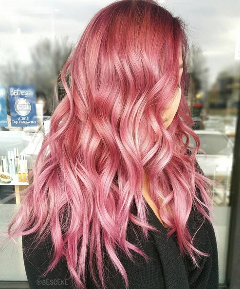 Long Wavy, Layered Hairstyle with Pink Hair