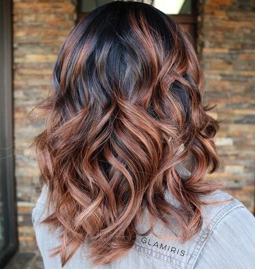 Medium Curly Hairstyle - Black and Brown