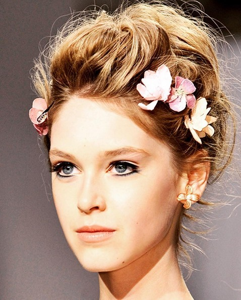 Messy Updo Hairstyle with Flowers - Wedding Hairstyles