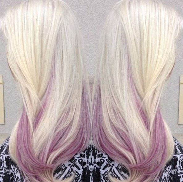 Pretty Balayage Hairstyle for Long Hair - Blonde and Pink