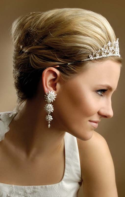 Short Hairstyles with Tiara - Wedding Hairstyle for Bride