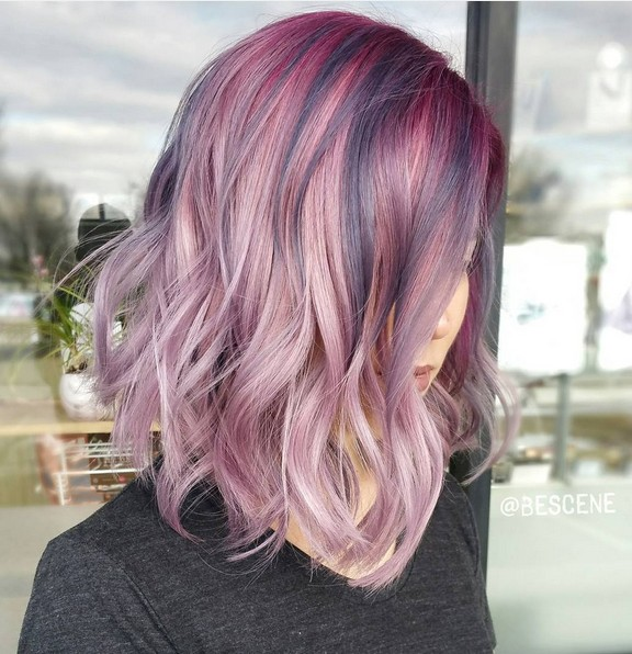 Shoulder Length Hairstyles with Metallic Rose Color