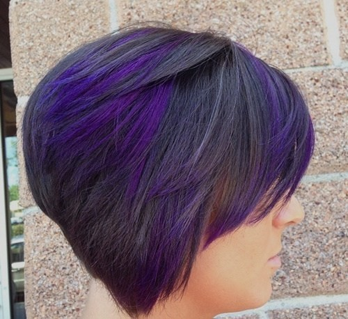 Stacked Short Haircut With Purple And Black Stack Popular Haircuts