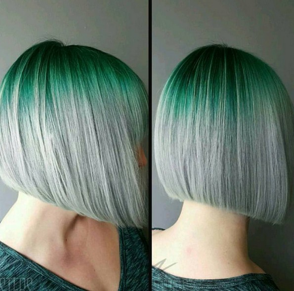 Straight Bob Hair Cut - Grey and Green