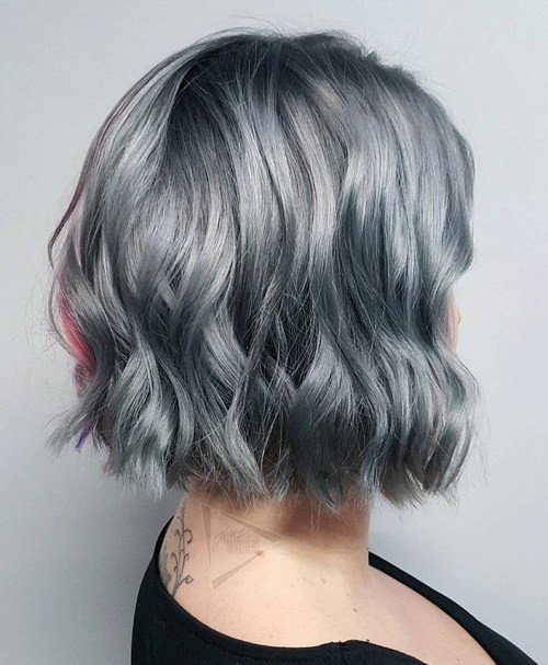 Subtle Silver Grey Hair - Wavy Bob Haircut