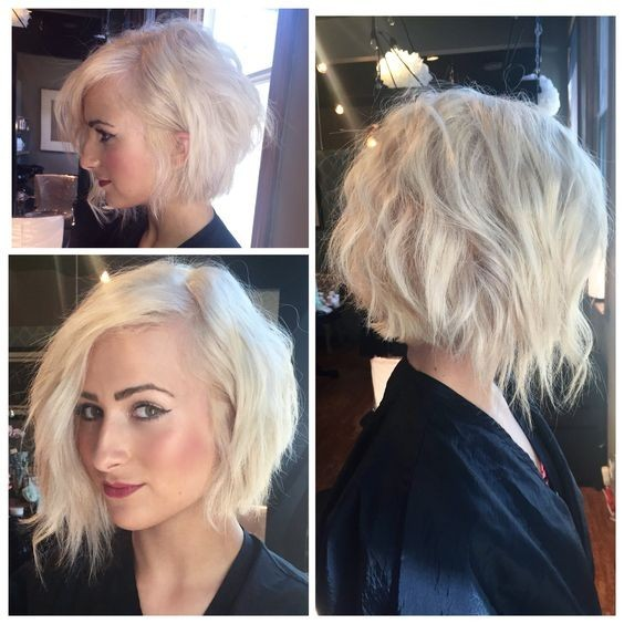 A-line symmetrical inverted bob - Messy Blonde Haircut with Fine Hair