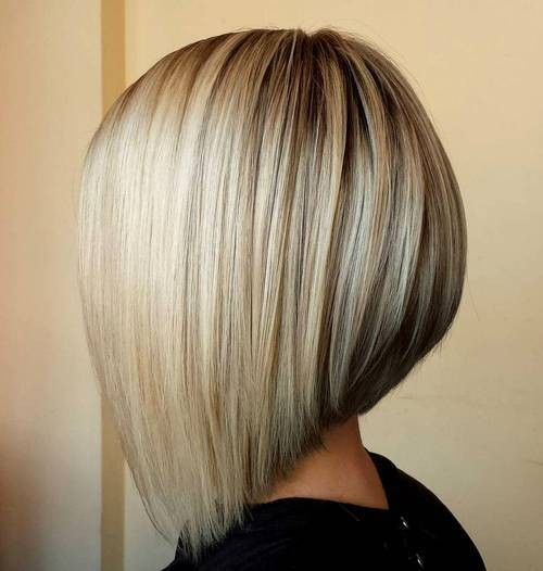 Angled Bob Hair Cuts - Staight Lob Hairstyle with Blonde Hair