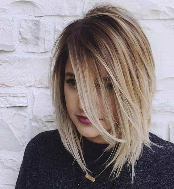 Balayage Ombre Lob Haircut Ideas - Girl Hairstyle for Thick Hair