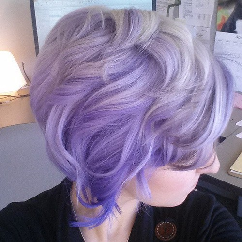 Balayage Ombre Lob Haircut - Light Lavender Hair