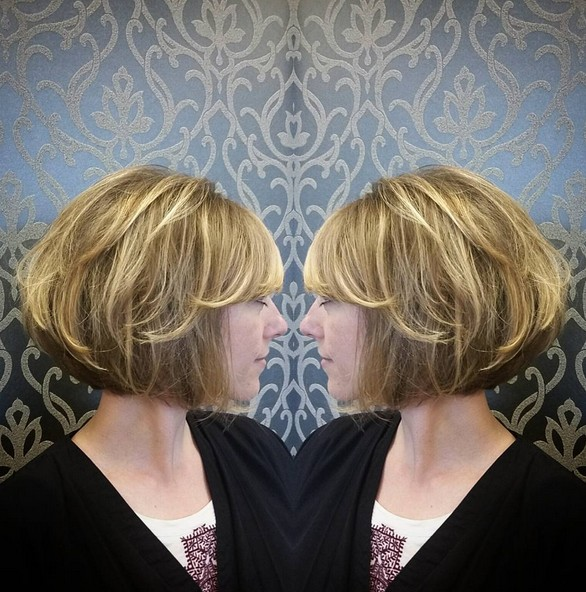 Balayaged Stacked Bob - Cute Short Hairstyle for Woman and Girls