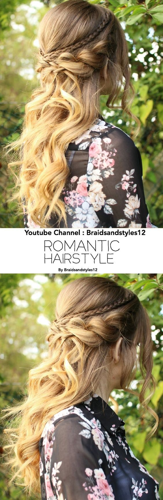 Beautiful, Romantic half up half down hairstyle with Curls - Homecoming Hairstyle