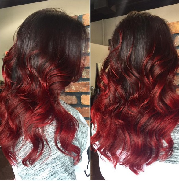 Black to Red Ombre Hair - Curly Long Hairstyle