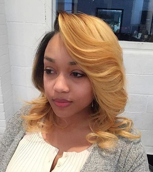 Blonde Medium Length Hairstyle - Ombre Hairstyles for African American Women