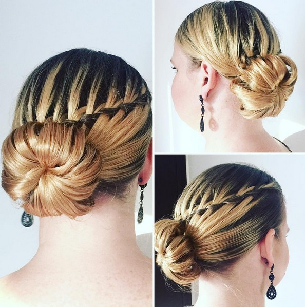 Chic Bun Updo Hairstyle with Waterfall Braid - Prom Hairstyles 2016