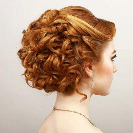 Chic Homecoming Updo Hairstyle with Short Curly Hair