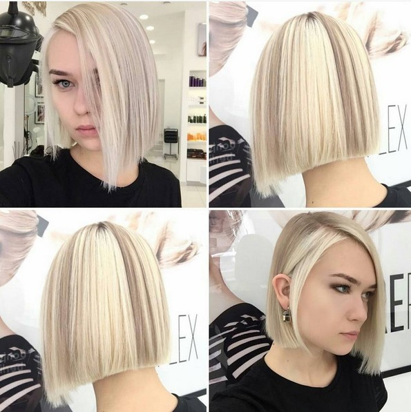 Chic,Blunt Straight Bob Haircut for Girls - Blonde Balayage Hairstyle