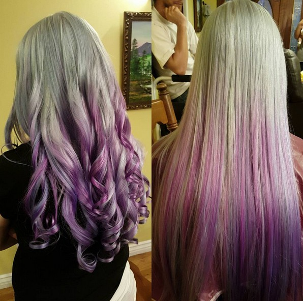 Curled and Straight Hair for Long Hair - Purple Ombre Ideas