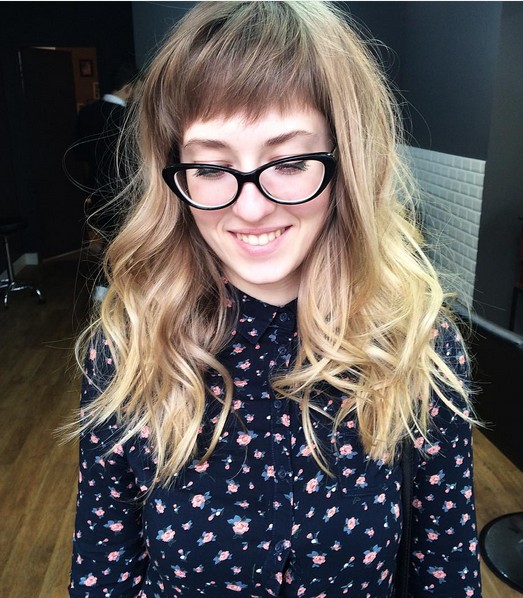 Curly Long Hairstyle with Blunt Bangs - Blonde .Balayage Ombre Long Hair