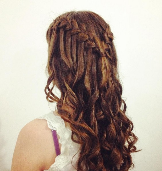 Curly Long Hairstyles with Waterfall Braid - Homecoming Long Hairstyles