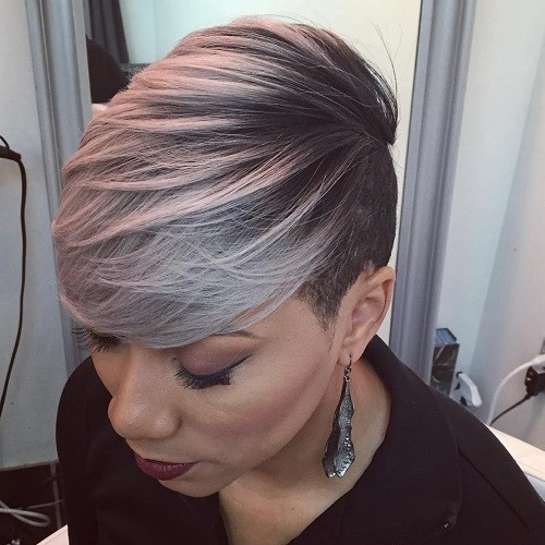Gray Balayage Hairstyle for African American Women Short Hair