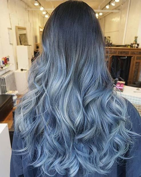 Grayish Blue Ombre Hair Style with Thick Long Hair